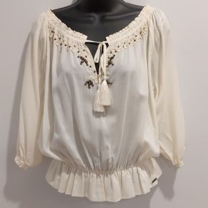 Guess cream peasant top blouse small